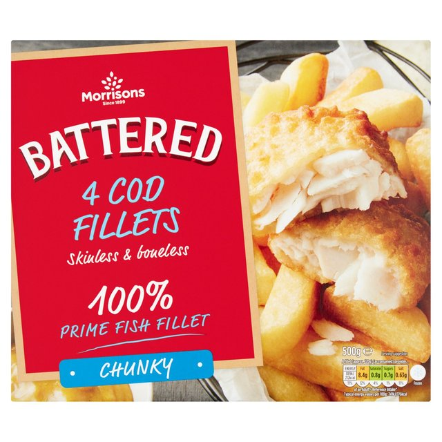 Morrisons: Morrisons 4 Battered Chunky Cod Fillet 500g ...