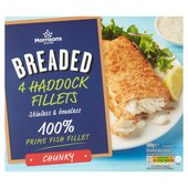 Morrisons 4 Chunky Breaded Haddock Fillets