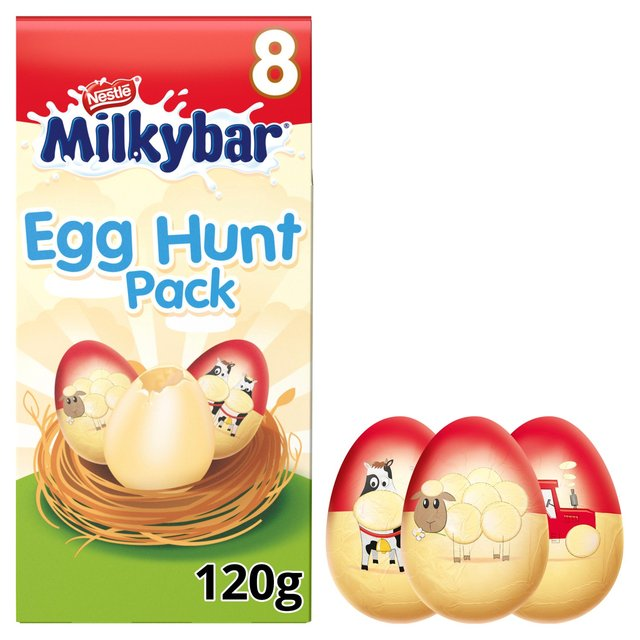 Milkybar Egg Hunt Pack 8 White Chocolate Eggs