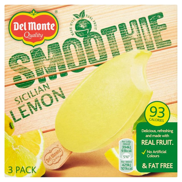 Del Monte Smoothie Sicilian Lemon Ice Lollies 3 Pack