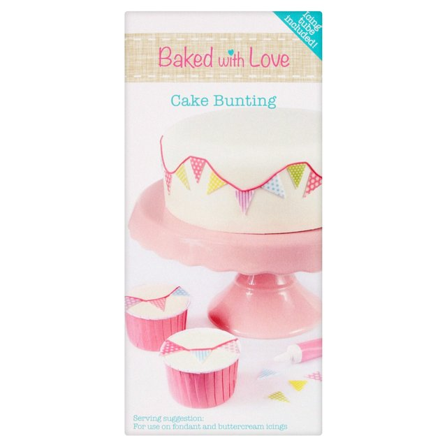 Cake Decorating Company Reviews : Morrisons: Baked With Love Edible Cake Bunting Decorating Kit 49g(Product Information)