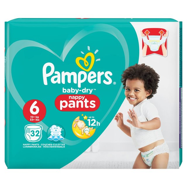 Pampers Baby-Dry Nappy Pants Size 6 Nappy Pants, 15+kg, Easy-On