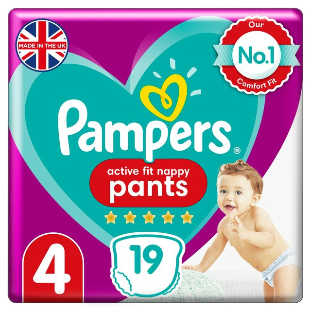 Pampers Active Fit Nappy Pants Size 4, 9kg-15kg, Carry Pack
