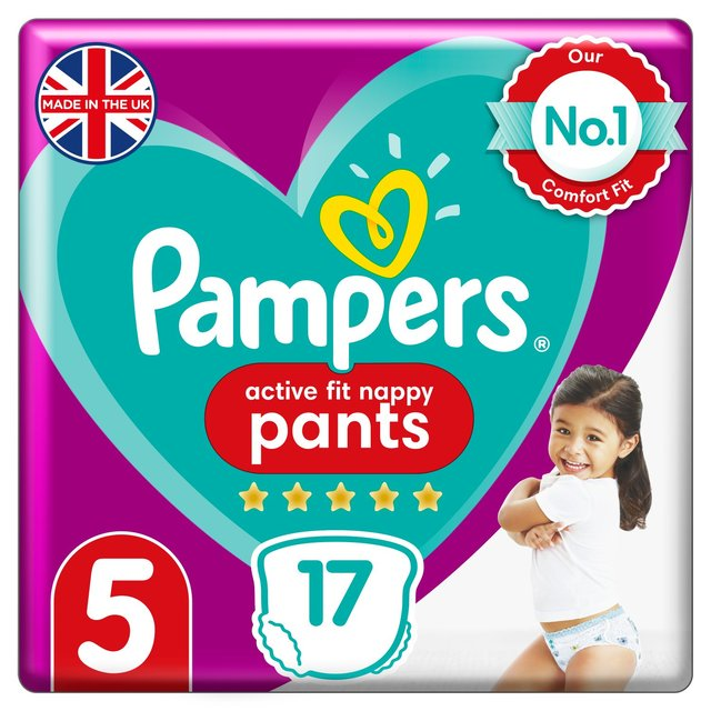 Pampers Active Fit Nappy Pants Size 5, 12kg-17kg, Carry Pack