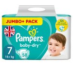 Pampers Baby-Dry Size 7 Nappies, 15kg+, Breathable Dryness