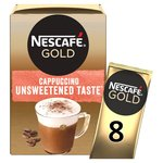 Nescafe Gold Cappuccino Unsweetened Taste Coffee 8 Sachets x 14.2g