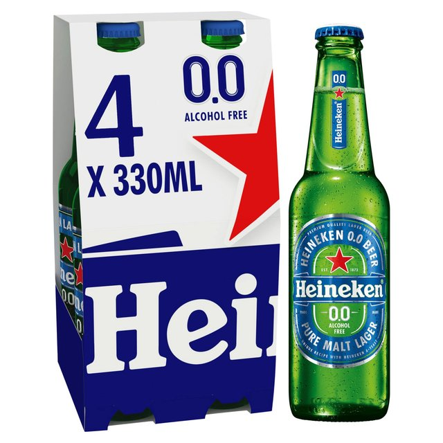 Heineken 0.0 Alcohol Free Lager Beer Bottles