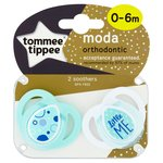 Tomme Tippee Moda Orthodontic Soothers 0-6M (Colours may vary)