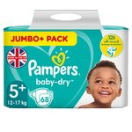 Pampers Baby-Dry Size 5+ Nappies, 12-17kg, Breathable Dryness