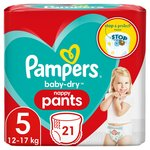 Pampers Baby-Dry Nappy Pants Size 5, 12-17 kg, Easy-On