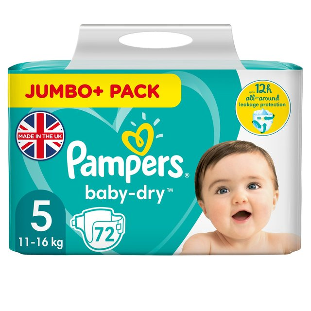 Pampers Baby-Dry Nappies Size 5,11-16kg Jumbo+ Pack