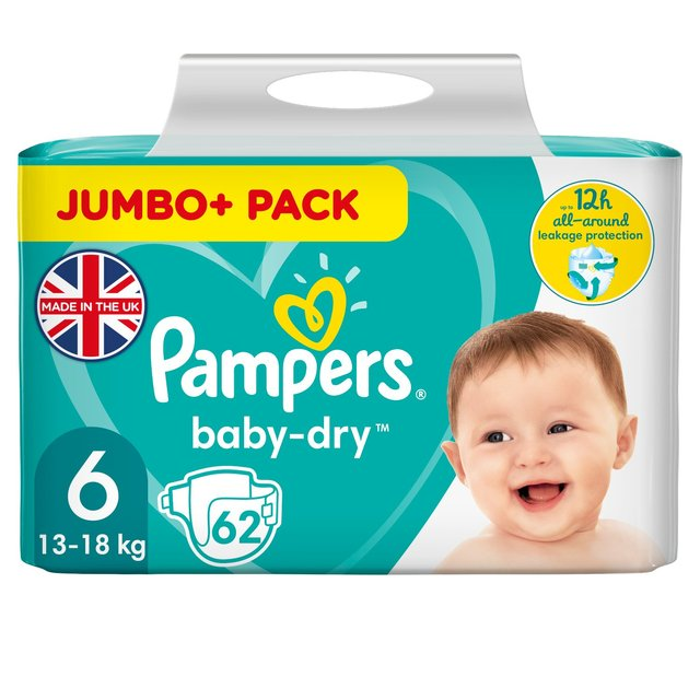 Pampers Baby-Dry Nappies Size 6, 13-18kg Jumbo+ Pack