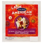 Santa Maria Mini Coconut & Black Pepper Soft Flower Tortilla 12Pk