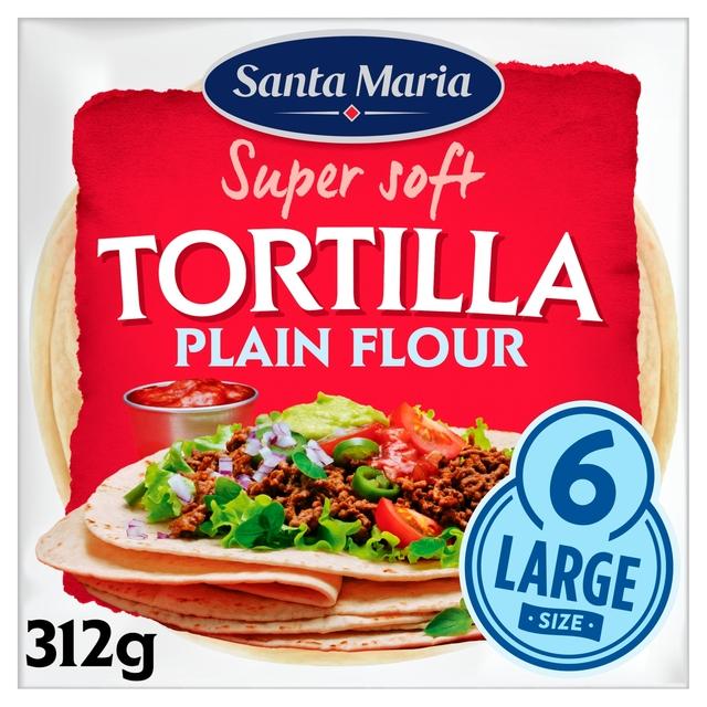 Morrisons: Santa Maria Large Plain Flour Tortilla 6Pk 312g