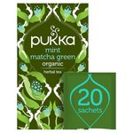 Pukka Mint Matcha Green, Organic Green Herbal Tea with Sencha, 20 Sachets