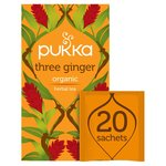 Pukka Three Ginger, Organic Herbal Tea with Galangal & Turmeric, 20 Sachets