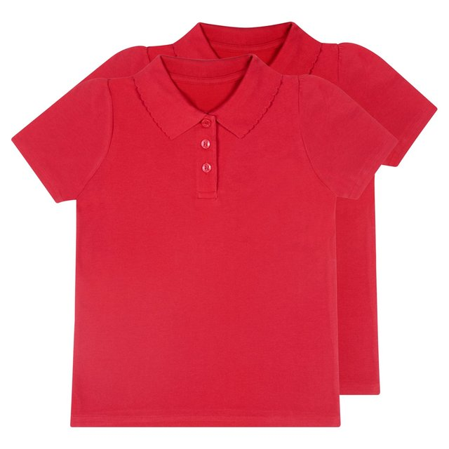 Nutmeg Girls 2 Pack Red Polos