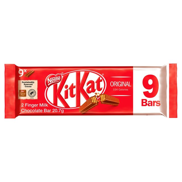 KitKat 2 Finger Milk Chocolate Bar Pack of 9