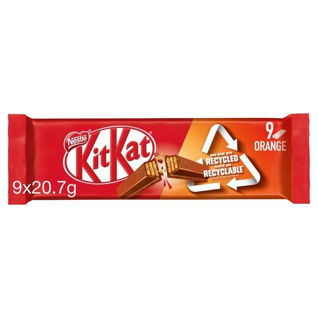 Kit Kat 2 Finger Orange Chocolate Biscuit Bar Multipack 9 Pack