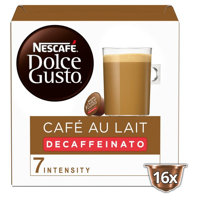 morrisons nescafe dolce gusto cafe au lait decaff 16 pods 160g product information. Black Bedroom Furniture Sets. Home Design Ideas