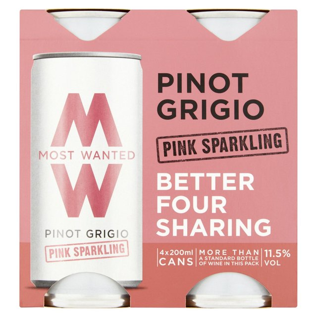 Most Wanted Pinot Grigio Pink Sparkling 4pk