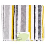 Morrisons Grey Stripe Bath Towel