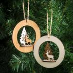 Morrisons Wooden Stag & Christmas Tree Decorations