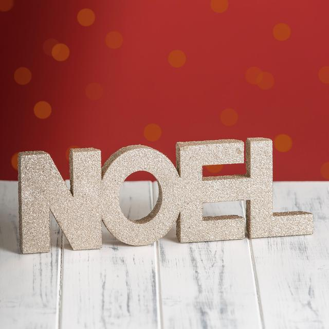 Morrisons Gold Glitter Noel Ornament