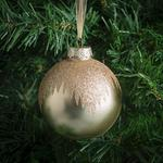 Morrisons Gold Glass Glitter Baubles