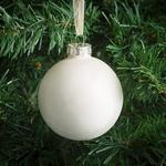 Morrisons Textured Ivory Glass Baubles