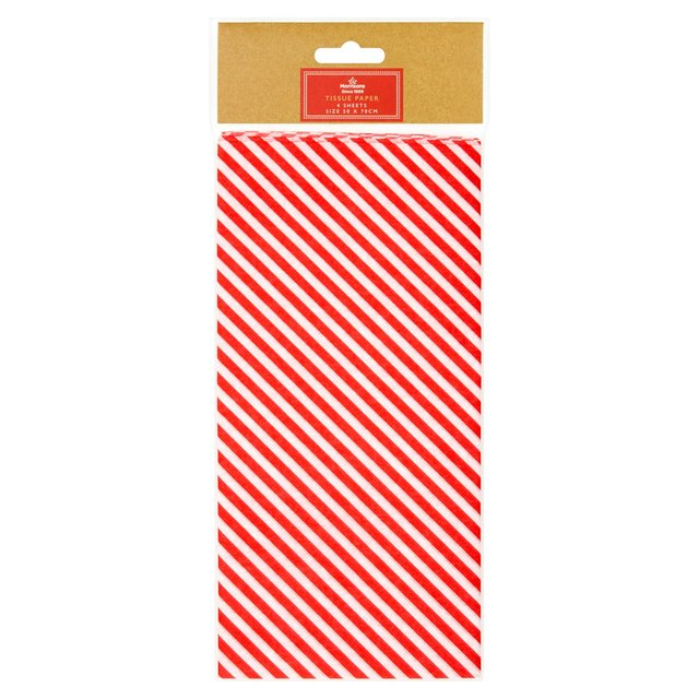 Morrisons Red Striped Tissue Paper