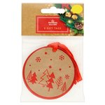 Morrisons Red Foil Tree On Kraft Gift Tags