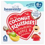 Heavenly Organic Superfoods Coconut Squishes Strawberry, Apple & Banana 4PK