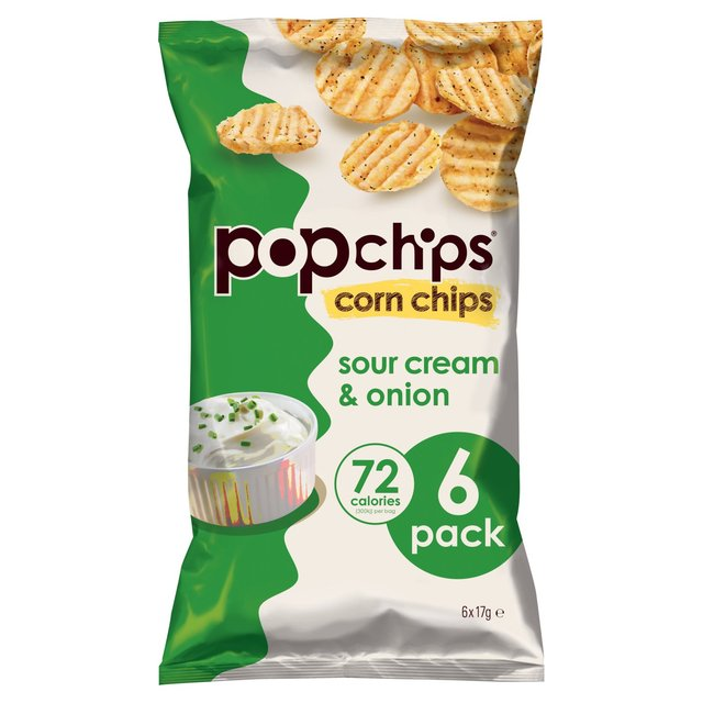 Popchips Sour Cream & Onion Multipack Crisps 6 Pack