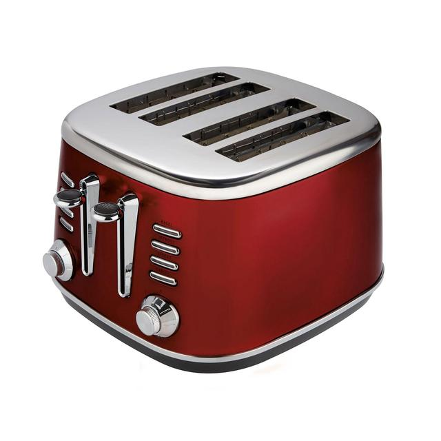morrisons morrisons metallic red 4 slice toaster product information. Black Bedroom Furniture Sets. Home Design Ideas