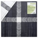 Morrisons 100% Cotton Grey Check Print King Duvet Set
