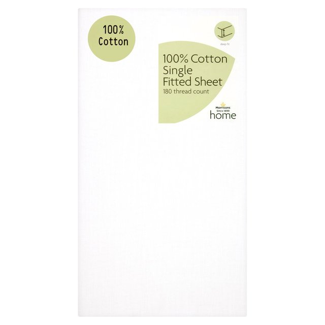 Morrisons 100% Cotton White Single Fitted Sheet