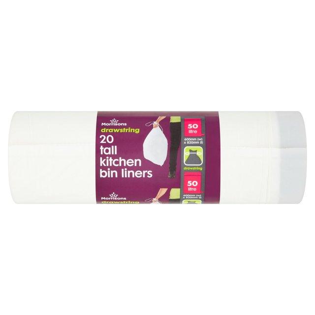 Morrisons: Morrisons 50L Drawstring Tall Kitchen Waste Bin Liners 20 ...