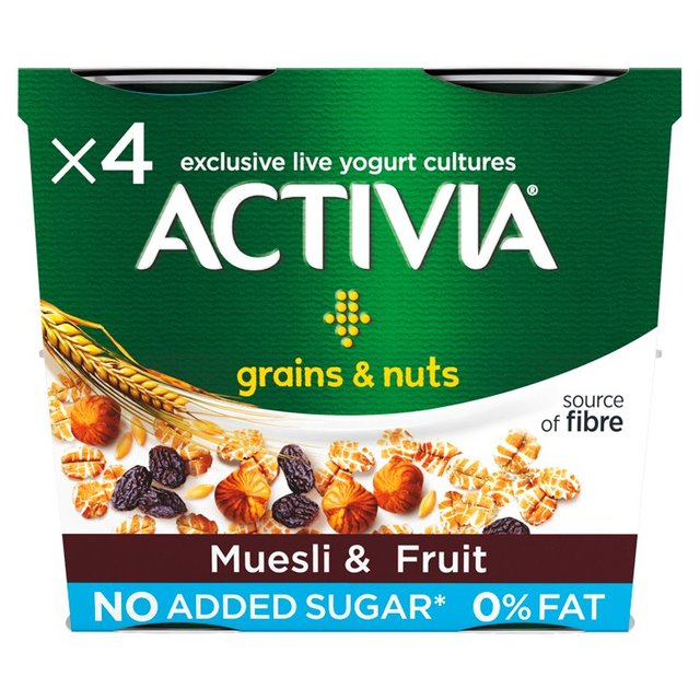 Activia Grains & Nuts 0% Fat Muesli & Fruit 4 Pots