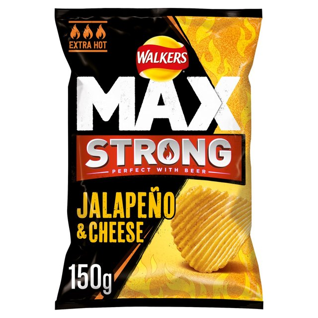 Walkers Max Strong Jalapeno & Cheese Crisps 150g