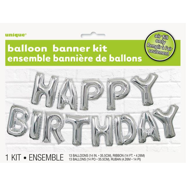 Unique Party Silver Happy Birthday Balloon Banner Kit