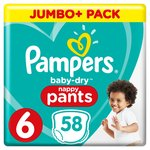 Pampers Baby-Dry Nappy Pants Size 6, Nappy Pants, 15+ kg, Easy-On