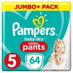 Pampers Baby-Dry Nappy Pants Size 5 Nappy Pants,12-17 kg, Easy-On