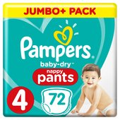 Pampers Baby-Dry Nappy Pants Size 4 Nappy Pants, 9-15 kg, Easy-On
