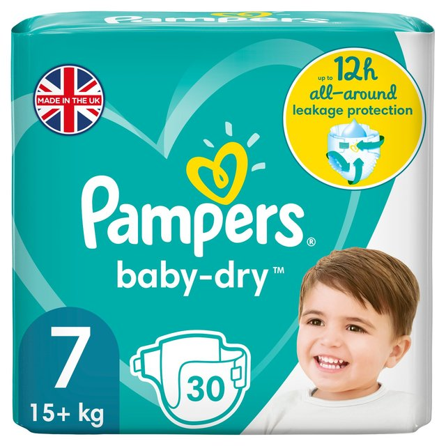 Pampers Baby-Dry Size 7 Nappies, 15+kg, Breathable Dryness