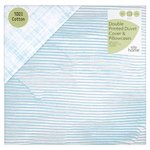 Morrisons 100% Cotton Aqua Textured Striped Print Double Duvet Set