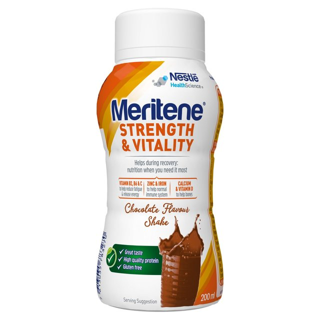 Meritene Strength & Vitality Chocolate Ready to Drink Shake Bottle