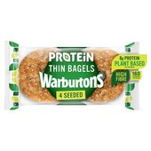 Warburtons 4 Seeded Protein Thin Bagels