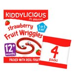 Kiddylicious Strawberry Fruit Wriggles 4 Yummy Bags