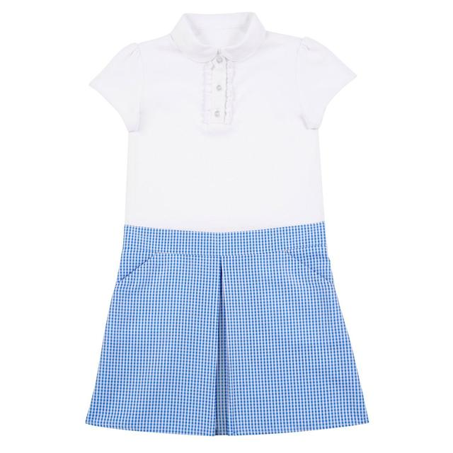 Nutmeg Girl'S Blue Jersey Gingham Dress